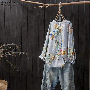 Women Tunic Tops Vintage Floral Printed Blouse ZANZEA Autumn Long Sleeve Shirt Femme Robe Work Blusas Casual Loose Chemise Tee 200925