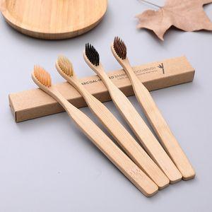 Tooth simples Bamboo Charcoal Escova amigável Eco- escova de cerdas macias portáteis dentes Oral limpeza Higiene Whitening Ferramentas VT1601