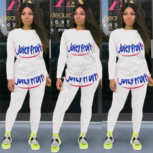 Women Cartoon Printed Outfits Long Sleeve Round Neck Hoodie T-shirt Pants Legging Sports Yoga Tracksuits Jogger 2 Piece Clothing sets D91603