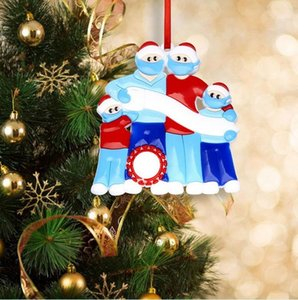 2020 Christmas Tree Quarantine Family Ornaments DIY Name Tree Decor Personalized Family of 3 4 5 6 With Face Mask Hand Sanitizer DHL Free