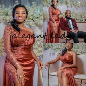 녹 이브닝 드레스 2,021 긴 소매 나이지리아 아프리카 섹시한 슬릿 플러스 크기 행사 무도회 가운 드 하나 어깨 가운 빨간색