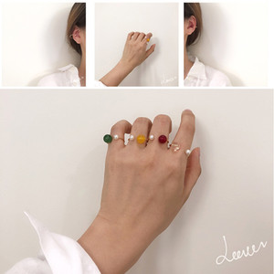 2020 New Korean Vintage Transparent Crystal Bead Rings For Women Color Geometric U-shaped Pearl Rings Cute Girl Fashion Jewelry