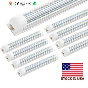 8ft LED Shop Light Fixture, T8, 8 Foot 120W 6000K, Clear Cover, V Shape, Cold White, Tube Light, Hight Output, Bulbs for Garage