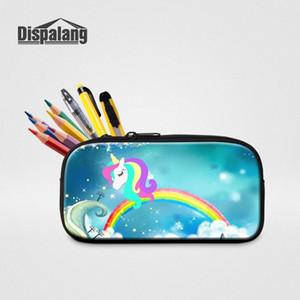 3D Printing Unicorn With Rainbow Pencil Case For Boys Girls Mini Zipper Pen Bag Box Women High Quality Cosmetic Cases Makeup Bag SqXi#