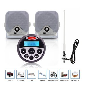 "Waterproof Marine Bluetooth Stereo Radio Audio Receiver MP3 Player+4"" Marine Speaker+FM AM Antenna For ATV Boat Yacht Motorcycle car"