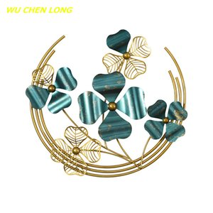 WU CHEN LONG Wrought Iron Four Leaf Clover Art Luxury Wall Hangings Crafts Home Living Room Wall Mural Decoration R5576