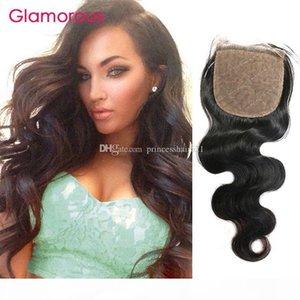 Гламурные Бразильский Объемная волна волос Silk Base Closure Размер 4x4 Virgin человеческих волос Затворы Малазийский Индийский прямые волосы Free Часть Затворы
