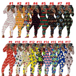 Women Jumpsuit Sexy Slim Casual Letters Cartoons Pattern Printed V-neck Long Sleeve Trousers Ladies Home Pajamas Onesies Rompers 2020