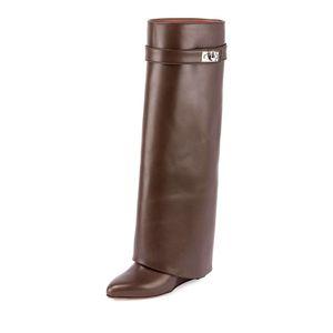 Autunno Inverno Shark Blocco Donne Wedge stivali al ginocchio stivali tacco pieghevole nero a punta Slip-on volte rispetto Lady Moto Stivali