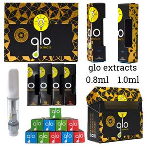 Nuovo Glo cartuccia Vape Estratti Packaging 0,8 ml 1,0 ml carri ceramica Dab Pen Cera vaporizzatore con codice QR Svuotare Monouso E Cigarettes