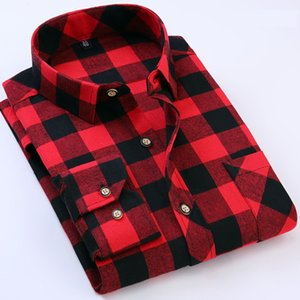 Mens Slim Fit Flannel Plaid Shirt 2020 Autumn Male Brand Casual Long Sleeve Shirts Soft Comfortable Plus Size 4XL