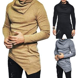 Frühlings-Männer mit langen Ärmeln dünner T-Shirt beiläufige Art und Weise der Männer dünner hochgeschlossenen Hemd Solide unregelmäßige Spitzen T PulloverHoodie M-4XL
