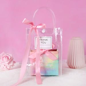 핸들 활 방수 PVC 투명 핸드백 파티 투명 비닐 봉투와 종이 상자 선물 가방 사탕 설탕 가방 사용자 정의 로고를 부탁