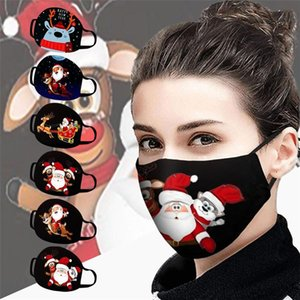 2020 Горячие Рождество Санта Клаус Печать партии Маски Многоразовый моющийся дышащий Многоцелевой лица Обложка рот пыли Лицо Обложка Повторное использование маски