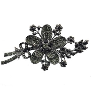Hematite Crystal Rhinestone Flower Brooch Pin Bouquet Fashion Accessory For Women