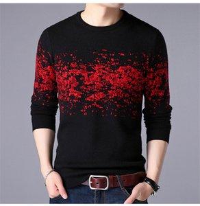 Повседневный Contrast Color Designer Plus Размер Mens свитер Pillover длинным рукавом вязаные свитера осень зима папа Одежда