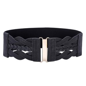 Vendita calda delle signore delle donne di modo delle ragazze cintura larga in pelle intrecciata in poliuretano elastico elastico in vita Cintura Cintura Cinto