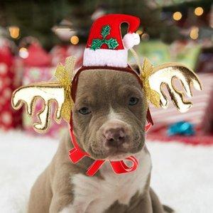 Weihnachtsnette Hund Katze Stirnband Filztuch Hat Hirschgeweih Crown Weihnachtsmann-Kostüm Cosplay Kopfschmuck Tierzubehör