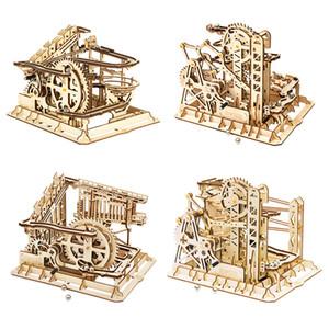 Robotime ROKR كتل الرخام سباق تشغيل المتاهة كرات المسار DIY 3D لغز خشبي كوستر نموذج البناء مجموعات اللعب لإسقاط الشحن