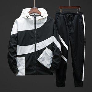 Мужчины Спорт Leisure Suit версия Тенденции Tooling куртка куртка мужчины Двухкусочных 2020 осень Новой спортивного костюма