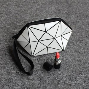 Cosmetic Bags Geometric semicircle cosmetic bag pu leather 2017 Hot selling Women Brand New pouch Drop Shipping