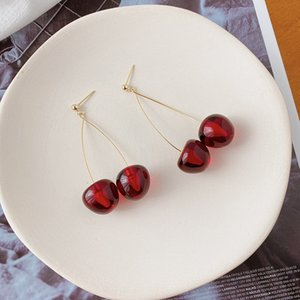 ZbdKj Red Cherry koreanische und elegante silberne Nadel New Fashion Net rot Ohrringe lange Acryl Ohrringe