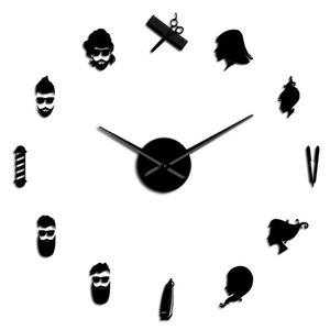 Große Barbe Uhr Salon Frameless Wandgeschäft Art Barber Pole Beauty Wandscheren Friseur Wand Big Needle Giant Clock Diy eDgKu