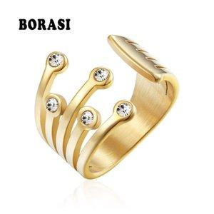 BORASI nuevos anillos de acero inoxidable para el anillo de las mujeres del estilo clásico Cubic Zirconia joyería de oro de la moda Color Wedding Party Band regalo