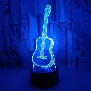 3D Optical Illusion Lamp Guitar Led Night Lights 7 color Changeable Touch Remote Control Atmosphere Light Christmas Gift Table Lamp