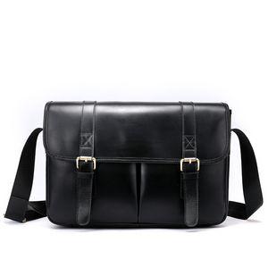 Vintage Leather Postman Style Satchel Unisex Faux Leather One Shoulder Zipper Backpack Men Women Business Bag Travel Handbags