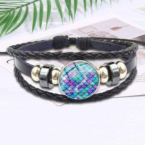 Para el vidrio de regalo de boda Mujeres cabujón más nueva Declaración de la vendimia joyería Negro cuero de la pulsera del brazalete del arco iris Escalas de la sirena