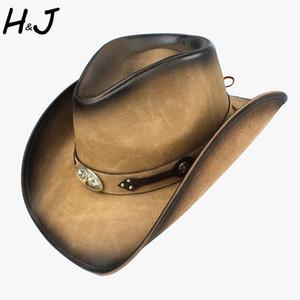 100% Leder Western-Cowboy-Hut für Männer Fedora-Hut Gentleman Dad Sombrero Hombre Jazz Caps Größe 58-59CM Drop Shipping T200911