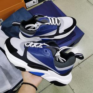 Scarpe Uomo Donne B22 Homme Sneaker riflettente Air scarpe da tennis della piattaforma Tela vitello stampato Lace-up Scarpe da ginnastica blu Scarpe casual con la scatola