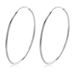 Hoop Huggie Trendy 925 Sterling Silber Einfache Piercing Großer Ohrring Für Frauen Glatte Kreis Charming Ohrringe Partei Schmuck
