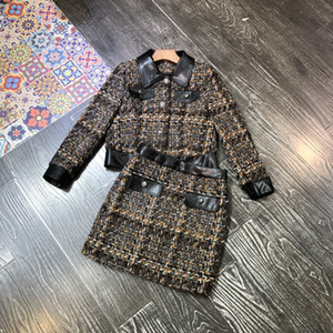 2020 new black tweed coat, half skirt, two sets of skirt, western style casual and high-waisted suit for women in autumn and winter