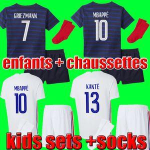 FRANCE Maillots de football 2020 2021 MBAPPE GRIEZMANN POGBA 20 21 축구 유니폼 FEKIR PAVARD 축구 키트 셔츠 enfants 어린이 세트 소년 양말