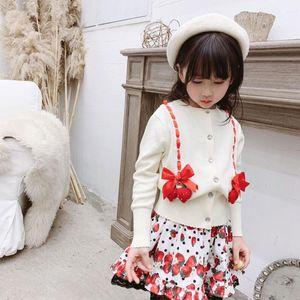 baby cardigans cherry bow design kids girls outwear