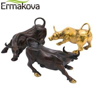 Ermakova 11.5CM (4,5 \) Brass Wall Street Bull Ox Figurine de charge Stock Market Bull Statue Feng Shui Sculpture Accueil Décor du foyer