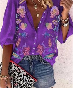 2020 Luxury Designer Shirts Summer Casual Cardigan Blouses Short Sleeve V Neck Print Fashion Female Clothing00