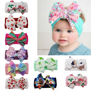 Children bowknot Headband Cute beautiful Girl Floral hair band with big bows Bohemia style hair dresses SOft Nylon elastic band GWD1751