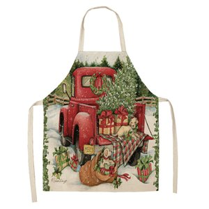 Hot-selling Christmas linenaprons Red Car Christmas Tree Kitchen Household Restaurant Cleaning protective sleeveless aprons are customizable