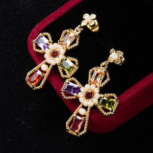 Earrings Woman Pendant Cross Metal Copper Girl Fashion Color zircon Jewelry Big hanging Exaggerated Eardrop Metal Dangler