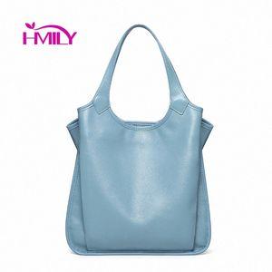 HMILY Genuine Leather Women Handbags High Capacity Fashion Women Shoulder Bags Temperament Bucket Bag New Ladies Bags Purses Wholesale He4k#