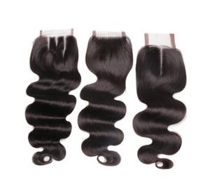 волна тела верхнего качества малайзийский человеческих волос Silk Base 4x4 Lace Closure Черный 3 Way Часть отбеленные узлы Free Средний
