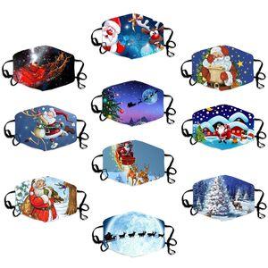Fashion Christmas Masken Design 3D Printed Elk Snowflake Weihnachtsgesichtsmasken Anti-Staub-Mund-Abdeckung Adjustable Waschbar wiederverwendbare Masken