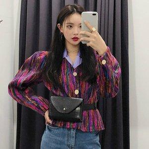 Senhoras Brasão Primavera coreana retro Jackets Rainbow Color Matching fivela metálica Jacket curto Vercoat por Mulheres 8A039