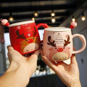 Casais dos desenhos animados Presente de Natal bonito Cups Fawn Impresso Tampa Colher criativa linda porcelana Taças de escritório bonito da forma Coffee Cups Mugs VT1707