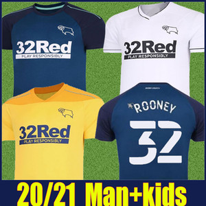 2020 Derby County ROONEY Football maison Jersey Kit enfants loin adultes MARTIN LAWRENCE football chemises 20/21 Derby County SAGESSE WAGHORN uniforme