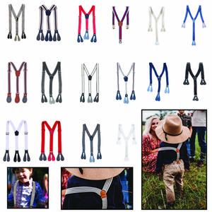 Enfants Clip-On réglable croisillons Garçons Filles Y-Back jarretelle enfant enfants élastiques solides bébé Elasti Suspenders Braces DHF584
