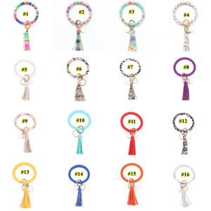 Multiple Styles Sun Flower Leather Wrap Tassels Bracelets Keychain Wristlet Bracelet Tassel Keychain Round Bangle Key Ring